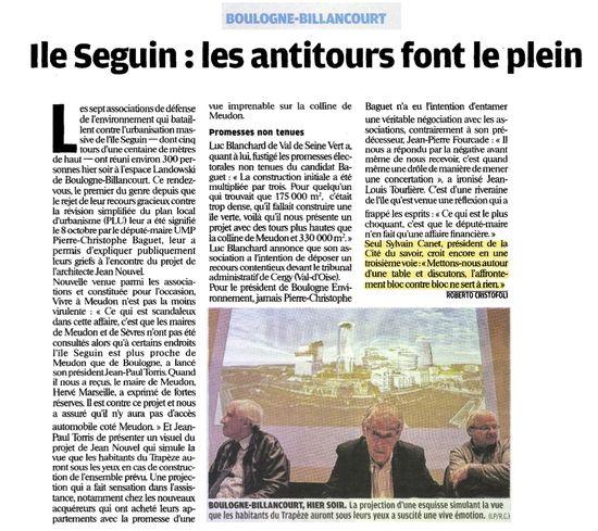 île Seguin Recours PLU Boulogne BillancourtNouvel Baguet CanetLe Parisien 4nov