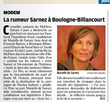 Marielle de Sarnez à Boulogne-Billancourt pour les législatives ? Le Parisien-Aujourd'hui en France 15 mai 12