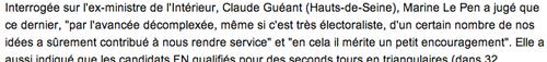 Le Pen sur Guéant - FN immigration exclusion