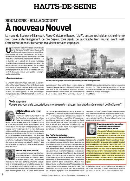 ECHOS Ile de France Consultation Seguin