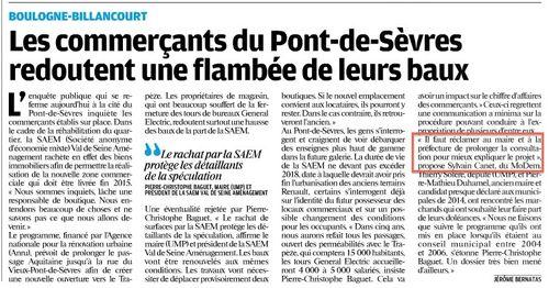 Le Parisien oct 12 Boulogne Billancourt pont de sèvres commerces